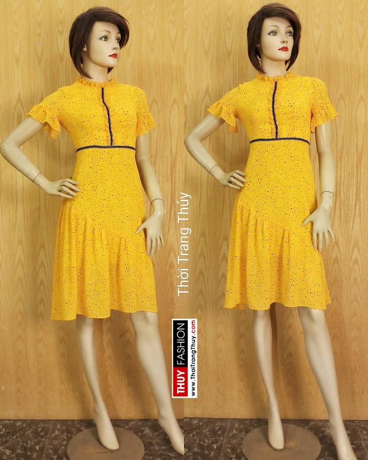 Váy xòe đuôi cá tay loe màu vàng V684 thời trang thủy hải phòng