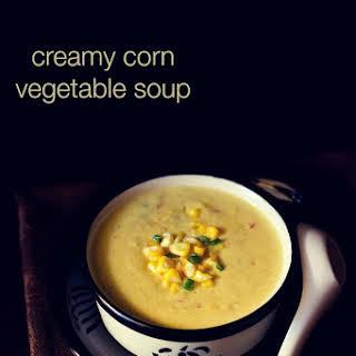 Creamy Corn Vegetable Soup Recipe | Sweet Corn Soup Recipe With Veggies.