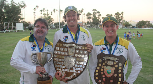 Tatts Cricket Club claimed the 2017-18 Narrabri District Cricket Association club championship, first grade 45-over championship and second grade 40-over championship. Pictured are second grade skipper Bill Wood, first grade skipper Tom Craig and club president Brendon Ward with the trophies.