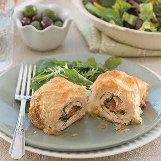 Phyllo-Wrapped Greek-Stuffed Chicken.