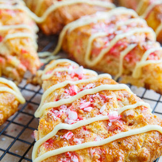 Peppermint Candy Cane and White Chocolate Chip Scones.