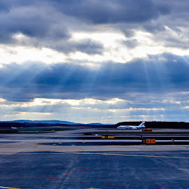 Rays by Svemir Brkic - Landscapes Cloud Formations ( antonov, airplane, clouds, rays, airport,  )