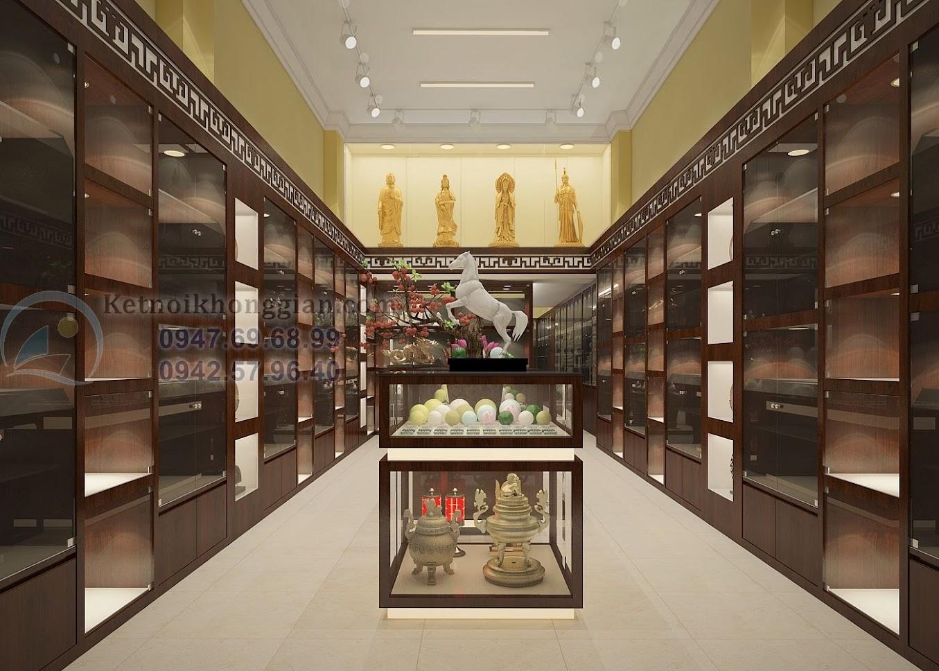 thiết kế cửa hàng vật phẩm phong thủy sang trọng