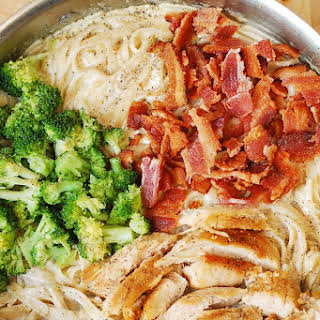Fettuccine Alfredo with Chicken, Broccoli, and Bacon.