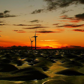 Low tide  by Stephanie Veronique - Landscapes Beaches ( sand, unique, sunset, lanscape, tide, sea, beach, turbines )