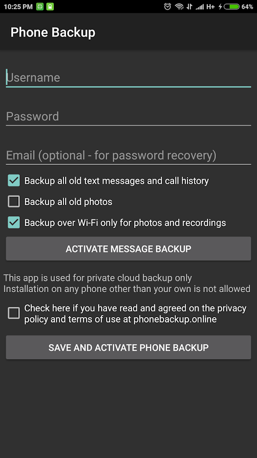Phone Backup- screenshot