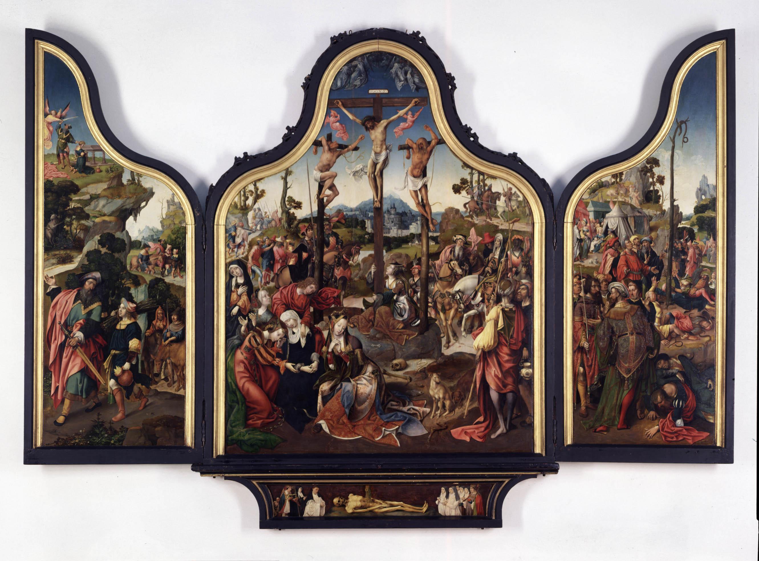Drieluik met de kruisiging van Christus