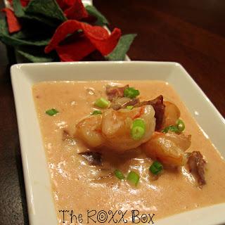 Roxanne's Shrimp & Andouille Sausage Queso Dip.