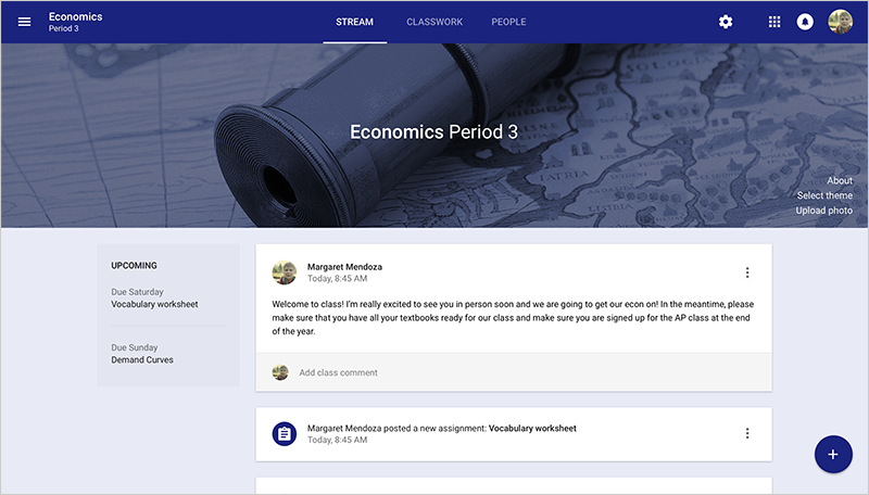 Google Classroom stream page