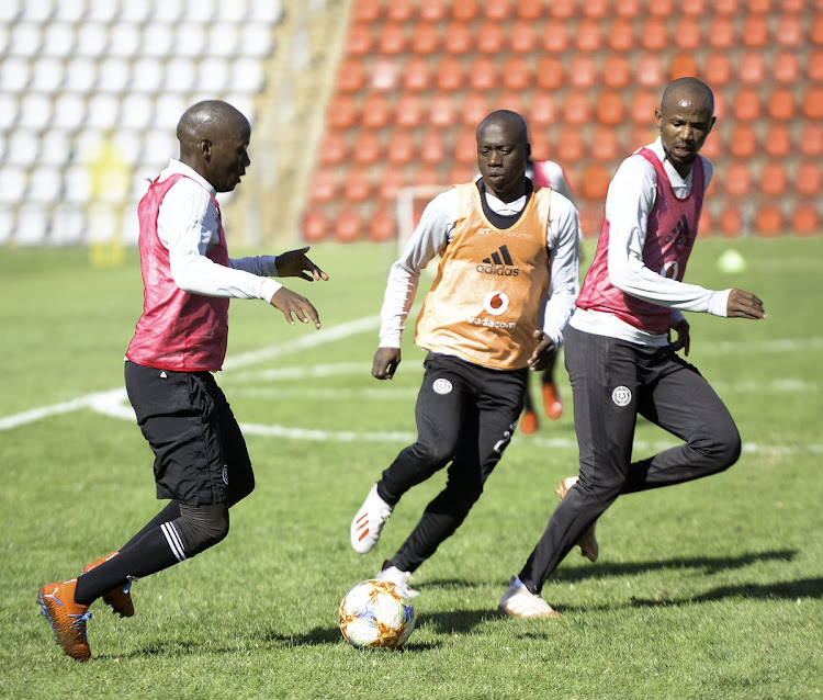 Orlando Pirates players at a training session at their base at Rand Stadium in the south of Johannesburg.
