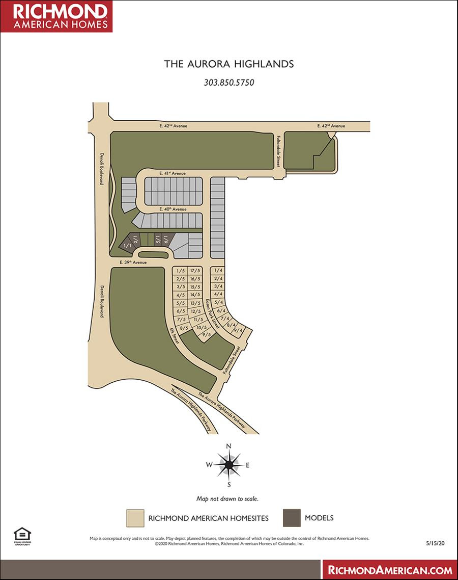 Aurora Highlands Site Map Richmond Homes