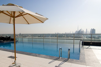 Photo: View towards downtown Dubai at rooftop pool area of Park Regis Kris Kin hotel