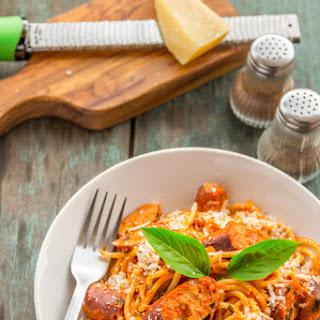 Spaghetti with Chicken Sausage in Homemade Marinara Sauce