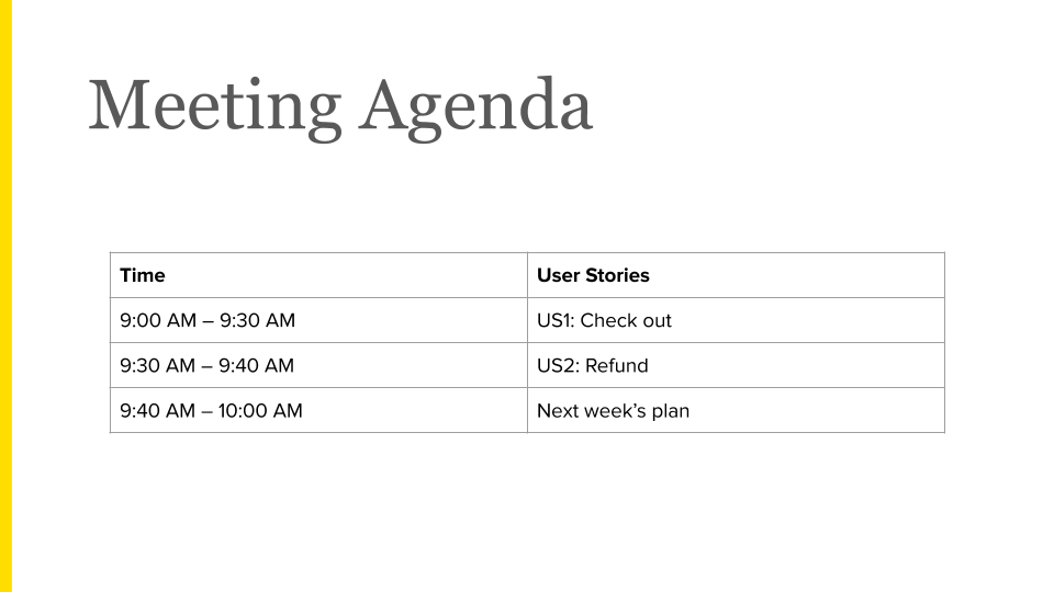 Magestore acceptance meeting sample agenda