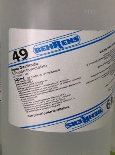 Solución Número 49 Agua Destilada Behrens X 500 Ml Behrens