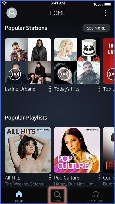 amazon music app search screenshot
