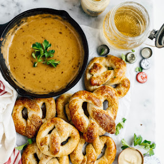 Homemade Hot Pretzels with Smoked Gouda Beer Cheese Sauce.