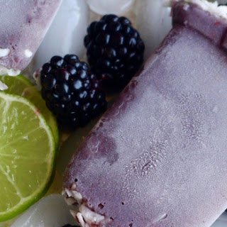 Blackberry Lime Milk Popsicles.
