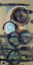 "Photo: Farmland 8""x15"" Hand embroidery, beadwork and acrylic paint on linen. Light gray wooden frame, 2'' deep. c. Karin Birch 2011"