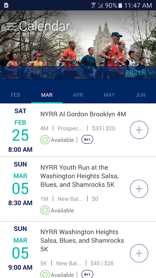 NYRR App- screenshot