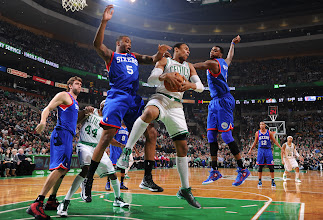 Photo: BOSTON, MA - DECEMBER 8:  Jared Sullinger #7 of the Boston Celtics takes down a rebound against Arnett Moultrie #5 and Dorell Wright #4 of the Philadelphia 76ers on December 8, 2012 at the TD Garden in Boston, Massachusetts.  NOTE TO USER: User expressly acknowledges and agrees that, by downloading and or using this photograph, User is consenting to the terms and conditions of the Getty Images License Agreement. Mandatory Copyright Notice: Copyright 2012 NBAE  (Photo by Brian Babineau/NBAE via Getty Images)
