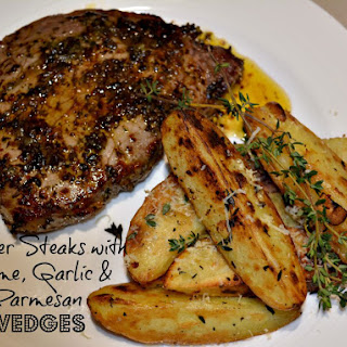 Pepper Steaks with Thyme, Garlic & Parmesan Wedges