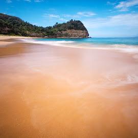 Shallows by Geoffrey Wols - Landscapes Beaches ( coast, rocks, blue, beach, maitland bay, long exposure, water,  )