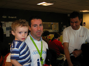 Photo: Axel and his son: youngest developer in attendance