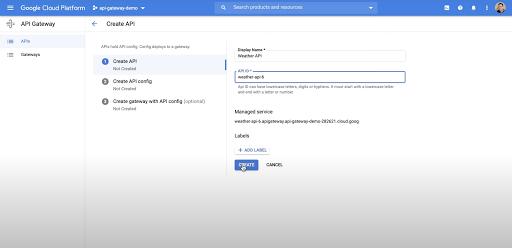 Screenshot from Google Cloud API Gateway demo video