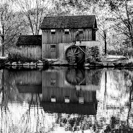 Rockford Illinos Mill by Darrin Ralph - Black & White Buildings & Architecture ( water, mill, reflection, black and white, rustic )