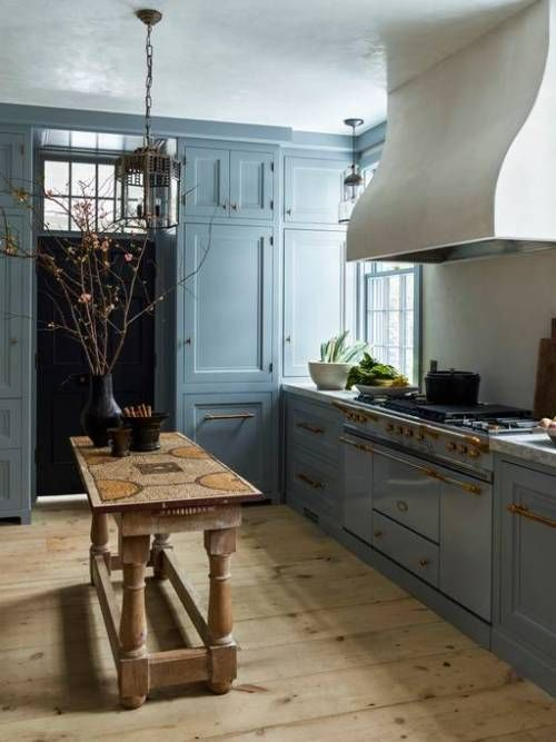 mixed kitchen rustic plaster hood wood island classic blue cabinets atlanta