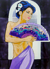 Photo: 111, Нетронина Наталья, Восточная девушка, Витражные краски, контуры, фольгированный картон (витражные картины), 35х28см,