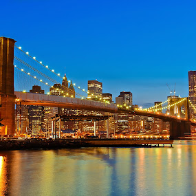 by Jan Gorzynik - Buildings & Architecture Bridges & Suspended Structures ( skyline, metropolis, america, skyscrapers, metropolitan, states, nyc, architecture, cityscape, travel, apartments, usa, panorama, city, lights, towers, buildings, york, east, district, rises, downtown, sightseeing, site, office, financial, united, twilight, tourism, manhattan, scenic, dusk, urban, landmark, new, scene, architectural, night, view, bridge, high, panoramic, brooklyn, river )
