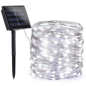 Instalatie solara cu 120 LED, interior-exterior, 14 m, alb rece