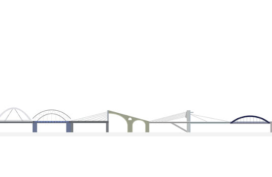 Illustration of bridges over a white background