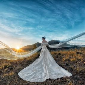 bride alone - kintamani by Wee Heong - Wedding Bride ( wppi, bali, mountain, wedding, beautiful, white, mpa, bride )