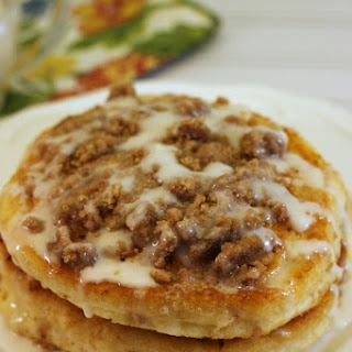 Coffee Cake Pancakes with Powdered Sugar Glaze