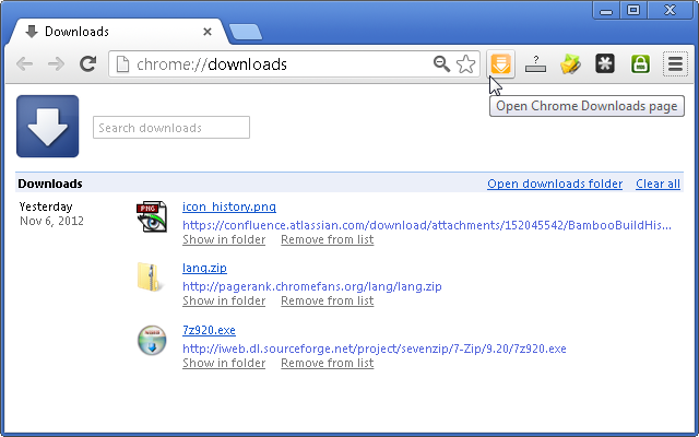 chrome download history