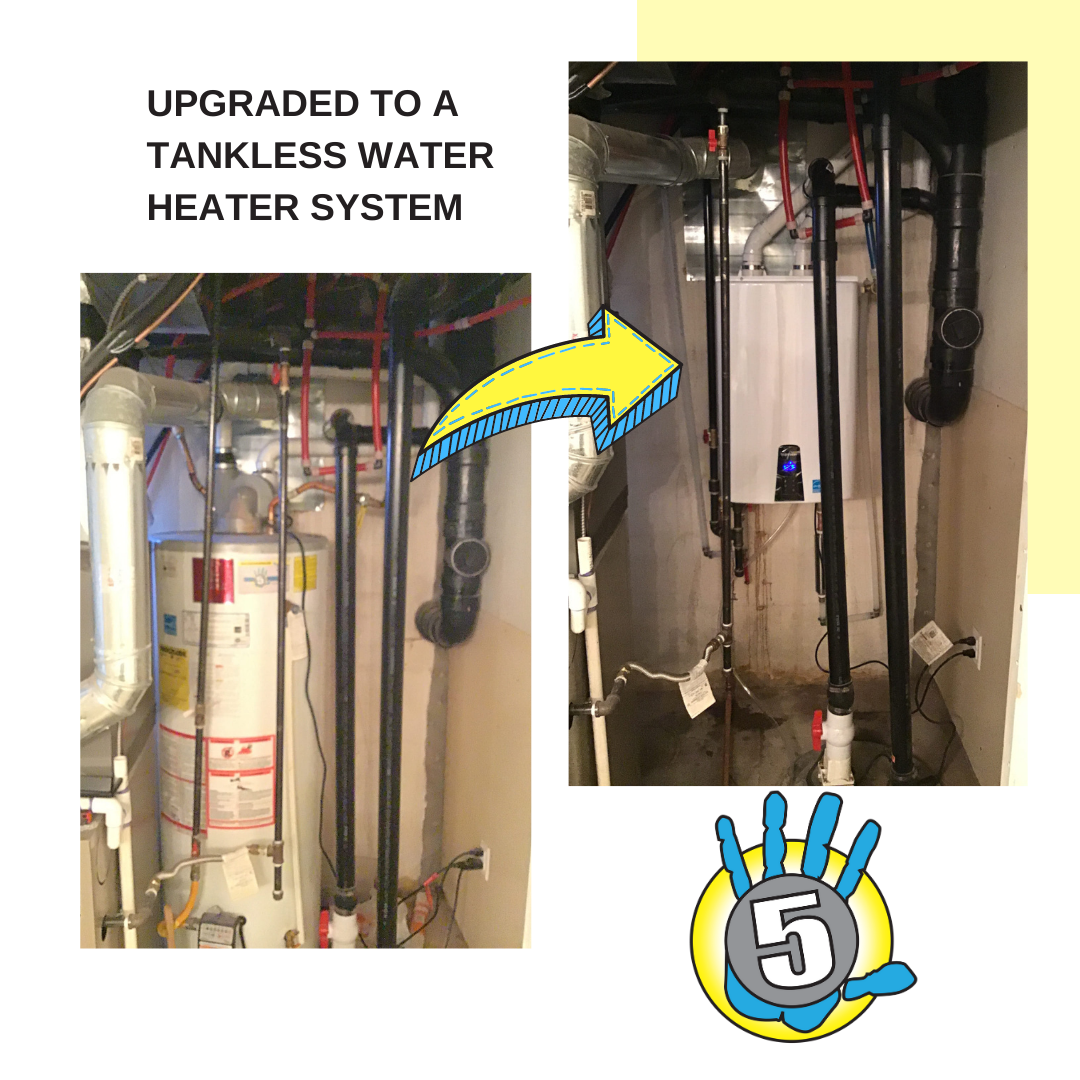 before-and-after graphic featuring a client's old tank water heater and the new tankless replacement that was installed