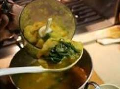 Puree soup in batches leaving partially chunky. Serve in bowl with a pinch of nutmeg...