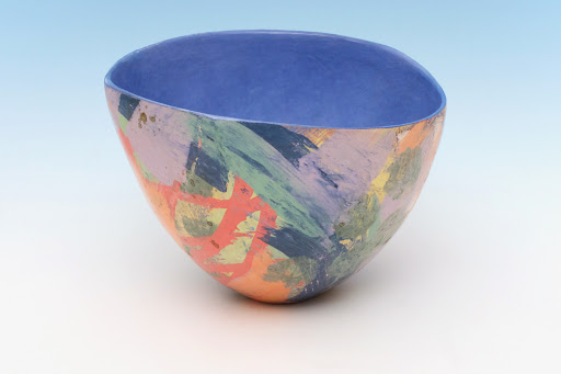 Carolyn Genders Ceramic Vessel entitled 'Blue Interior Abstraction III'