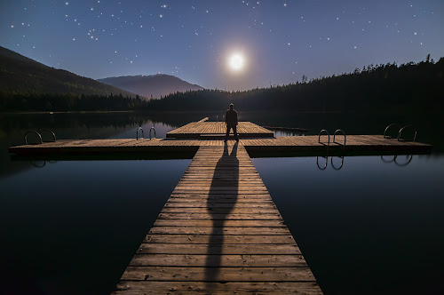 I'm Being Followed by a Moonshadow by James Wheeler - Landscapes Starscapes ( nobody, person, mountain, silhouette, travel, twinkle, dock, sky, nature, shadow, alone, british columbia, canada, dream, majestic, twilight, mysterious, trekking, tourism, leisure, wide, astronomy, dusk, destination, vacation, stars, scene, conceptual, outside, moon, landscape, epic, meditating, deck, evening, starscape, man, extreme, whistler, purple, lost lake, guy, male, scenic, human, blue, stand, outdoor, night, scenery, standing )