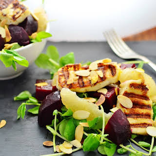 Beetroot Salad With Grapefruit And Halloumi.