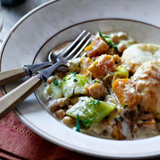 Chickpea And Butternut Squash Casserole With Scone Topping.