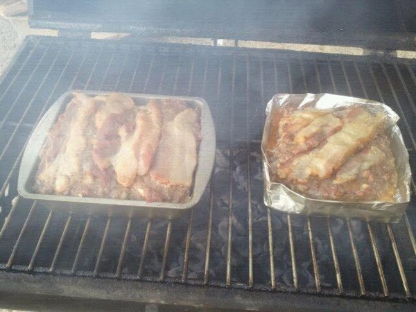 When your bricks or wood are ready to smoke place your meatloaf pan on...