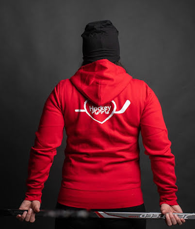 Hoodie - Hockeymamma - röd