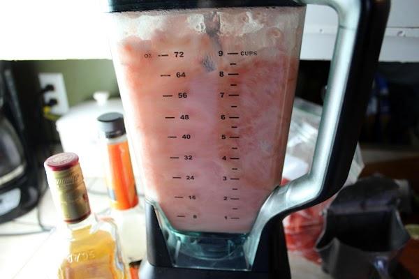 Pureeing ingredients in a blender.