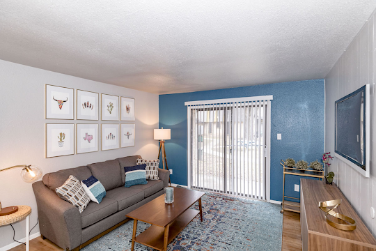Model living room with couch, rug, and blue accent wall