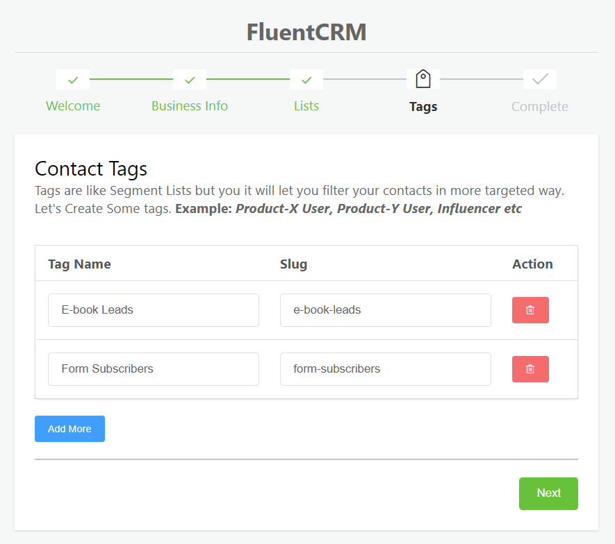 fluentcrm setup wizard, creating tags in fluentcrm