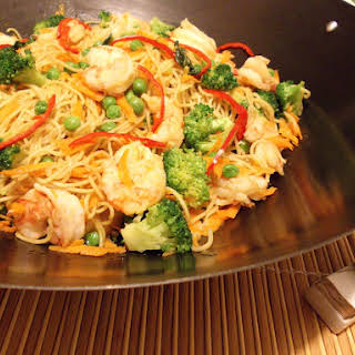 Shrimp and Vegetable Noodle Stir-fry.